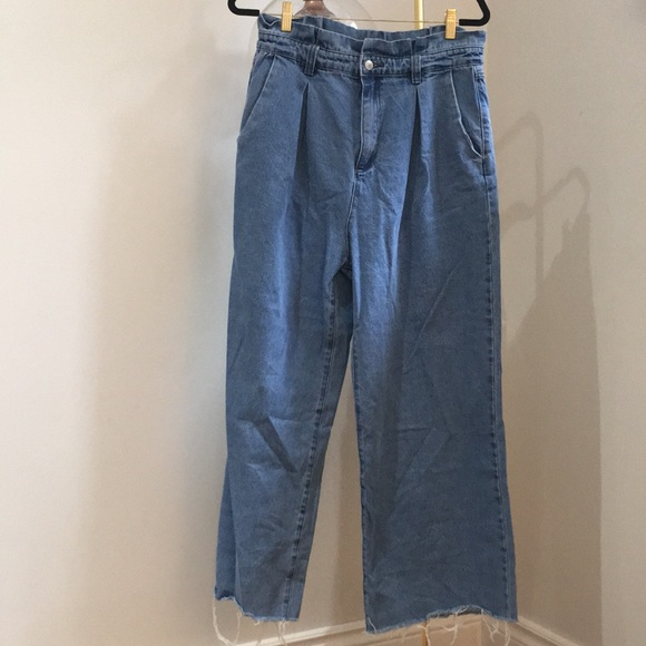 WIDE LEG JEAN CULOTTES WITH TRIMMED HEM